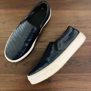 celine paris | navy crocodile slip on sneakers